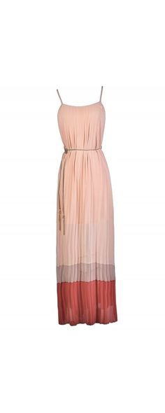 Pleated Chiffon Colorblock Hem Maxi Dress in Pale Pink/Dusty Coral  www.lilyboutique.com