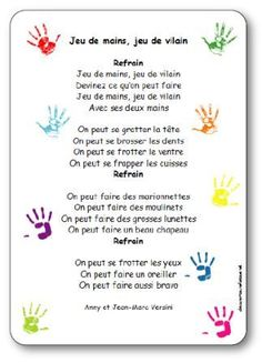 Chanson à gestes Jeu de mains Jeu de vilain Versini Core French, French Class, French Lessons, Circle Time Songs, Activities For 2 Year Olds, French Songs, Finger Plays, Petite Section, Baby Gym