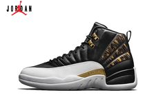 5bc89fbc4ffa9c Men s Air Jordan 12 Retro Wings Authentic Basketball Shoes Black Metallic  Gold White 848692