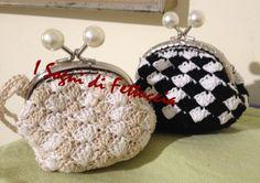 borsellini in cotone, bicolore, chiusura da 8,5 cm