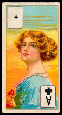 """Ace Of Clubs - Cigarette Card - Wills's Scissors Cigarettes, """"Beauties"""" (Playing Card Insert issued in India, 1911) 