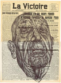 mark powell - the sunburnt victory smile of man and moon,Bic biro drawing on 1940 french newspaper.