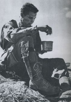 An anonymous Sargent of the 82nd Airborne eating somewhere in Sicily.  Airborne. 2d Ranger Battalion and 509th Airborne paratrooper here. www.groovyoutdoors.us