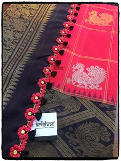 15 Best Kuchu Designs For Silk Saree - Tikli - India's Leading Fashion and Beauty Magazine Saree Tassels Designs, Cotton Saree Designs, Saree Kuchu Designs, Wedding Saree Blouse Designs, Wedding Silk Saree, Silk Saree Blouse Designs, Silk Sarees, Saris, Sari Design