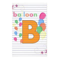 Alphabet letterhead template alphabet kids stationery teacher balloon letter b stationery alphabet kids stationery spiritdancerdesigns Image collections