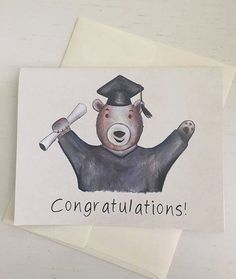 Cute High School College Graduation Bear by ErinSunshineKenna