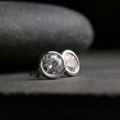 Large bezel set Moissanite and sterling silver by hartleystudio, $676.00