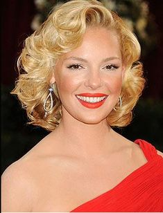 Katherine Heigl with Hollywood wavy hair and red lipstick