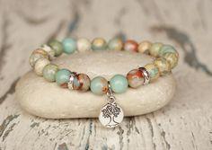 tree of life bracelets healing sister gift under 20 good luck protection charm bracelet bohemian serpentine gemstone beaded bracelet stretch by 99gems on Etsy https://www.etsy.com/listing/522851972/tree-of-life-bracelets-healing-sister