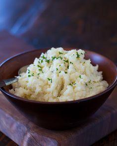"""Cauliflower Mashed """"potatoes"""" With Cauliflower, Milk, Butter, Light Sour Cream, Garlic Salt, Ground Black Pepper, Chives"""