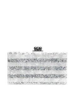 EDIE PARKER Jean Stripe Box Clutch