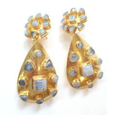 Vezoora Double Gold Earrings - Moonstone