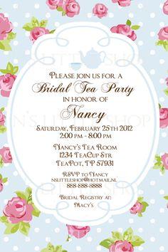 Bridal shower tea party invitation template vintage rose shower english rose tea party invitation card customize printable filmwisefo