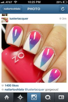 Ombre nails with white