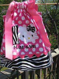 Zebra and Pink polka dot Hello kitty pillowcase dress. $29.99, via Etsy.