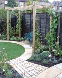 Circular lawn round themed garden design with a curved path and pergola.