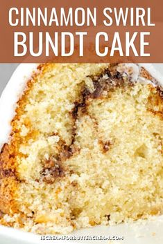 This Cinnamon Swirl Sour Cream Cake has got some major cinnamon swirl going on. It's a super moist bundt cake, thanks to the help of sour cream, then it's covered in a smooth cinnamon glaze. Sour Cream Cake, Pound Cakes, No Bake Desserts, Banana Bread, Glaze, The Help, Cinnamon, Cake Recipes, Sweet Tooth