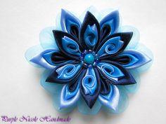 Melancholy - Handmade Floral Broach by Purple Nicole (Nicole Cea Mov), blue handmade kanzashi satin&organza flower.