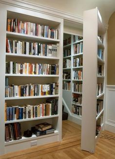 Traditional Library with Hardwood floors, Wainscotting, Chair rail, Murphy door assembled prehung bookcase door package