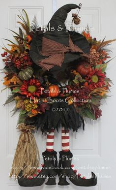 CUSTOM ORDER-Halloween Wreath-Fall Autumn Wreath- Primitive Prim Witch Hat n Boots (New Version w/broom) Petals & Plumes Original Design via Etsy