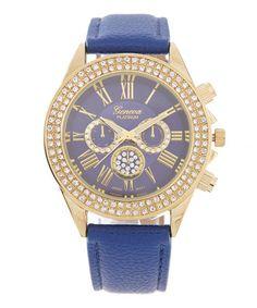 Blue & Goldtone Rhinestone-Bezel Chronograph Watch #zulilyfinds