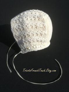 c464e41024f9 Bonnet béguin vintage en coton bio couleur écru (naturel).Béguin bonnet  bébé cadeau