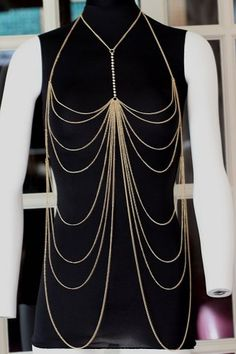 Body Chain Draping Metal Chains Crystals Gold Armor Designer Runway Fashion Statement Avant Garde