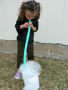 Blowing Bubbles with a Hose great for breathing development