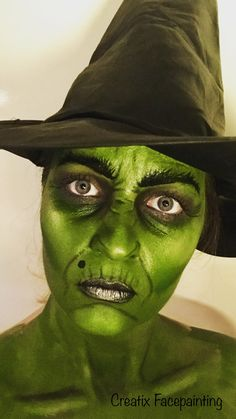 Green witch halloween look by Creatix Facepainting