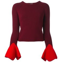 Alexander McQueen Bell Sleeve Jumper (€1.005) ❤ liked on Polyvore featuring tops, sweaters, alexander mcqueen, red, bell sleeve sweater, crop top, purple jumper, long sleeve jumper and ribbed crop top