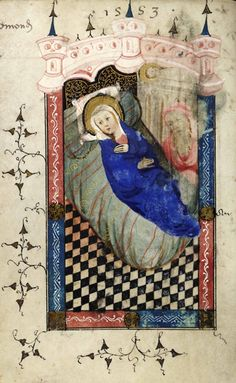 Mary lies on what looks like a much more realistic and comfortably domestic bed than in many Nativity scenes. A pretty young woman, she gazes out of the picture with a preoccupied expression. The image of Joseph, an elderly bearded figure to the right, has been rubbed. Top right, the child lies on a stone manger more like a catafalque than a crib. The miniature is from a humble Flemish book of hours known to have been in Suffolk from the early 15th century.