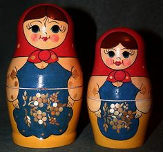 Vintage Wooden Russian Matryoshka 6 PC Nesting Dolls USSR Wood Straw Inlay | eBay