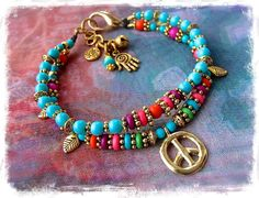 PEACE Sign JINGLE ANKLE Bracelet Turquoise anklet Gold by GPyoga