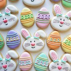Easter Cookie Recipes, Easter Cookies, Easter Treats, Holiday Cookies, Easter Bunny, Easter Eggs, Easter Biscuits, Iced Cookies, Sugar Cookies