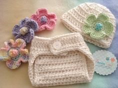 Interchangeable Flowers Hat and Diaper Cover Set - Adorable You