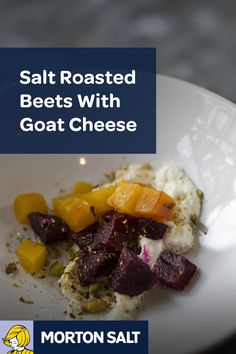 Salt Roasted Beets with Goat Cheese recipe // Salt roasted beets tossed in a delicious vinaigrette, topped with goat cheese and pistachio seeds is a light and refreshing salad to accompany a main course.
