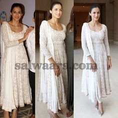Shilpa Reddy Printed White Kameez - Indian Dresses