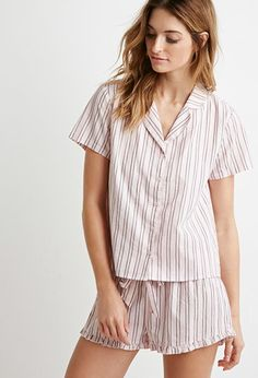 Striped Cotton Shirt PJ Set | Forever 21 - 2000173214