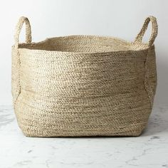 Maison Bengal Natural Jute Rectangular Basket with Handles - 25 x 20 in - The Foundry Home Goods Towel Basket, Big Basket, Basket Bag, Rattan, Wicker, Bengal, Rectangular Baskets, Blanket Basket, Large Storage Baskets