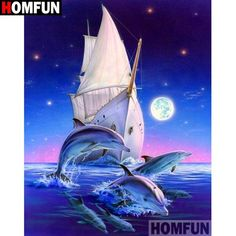 """HOMFUN Full Square/Round Drill DIY Diamond Painting """"Sea boat dolphins"""" Diamond Embroidery Cross Stitch Home Decor Dolphin Art, Cross Stitch Art, Step By Step Painting, Number Drawing, 5d Diamond Painting, Drawing Skills, Easy Paintings, Under The Sea, Images"""
