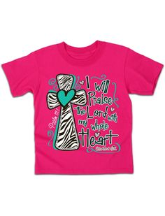 Cherished Girl Youth Kids Praise the Lord Zebra Cross Christian Girlie Bright T Shirt