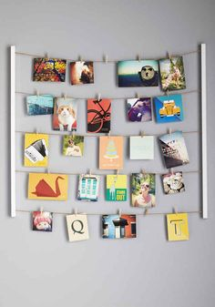 A photo display that looks like a clothesline.