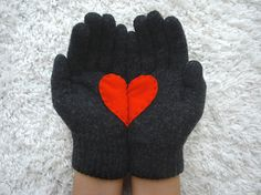 Handful of Heart Dark Grey Gloves with Red Felt Heart by yastikizi,