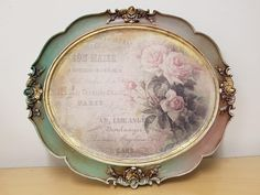 Decoupage Box, Decoupage Vintage, Inspiration Artistique, Cold Porcelain Flowers, Antique Picture Frames, Plate Wall Decor, Painted Trays, Thrift Store Crafts, Shabby Chic Crafts