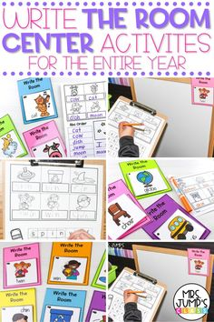 kindergarten center rotations? This set of write the room activities can be used for the entire year in first grade and kindergarten. Students can practice cvc words, abc order, and writing sentences throughout the year.