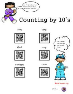 CELEBRATE the 100th DAY of SCHOOL!  EXPLORING COUNTING TO 100 (BY 1'S, 2'S, 5'S, 10'S) USING QR CODES BUNDLE - K-3rd $ Find this in our Mega Math Bundle using QR Codes for 40% off.