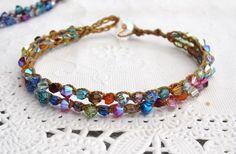 Bracelet au crochet terreux « tennis », couleurs de l'arc-en-ciel de printemps, boho, usure terreux, naturel,