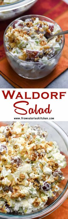 Crisp apples, red grapes, and celery tossed with a pineapple sweetened whip cream. An ambrosia-inspired take on classic Waldorf Salad. Dessert Salads, Fruit Salad Recipes, Dessert Recipes, Fruit Salads, Desserts, Jello Salads, Quick Dessert, Food Salad, Dessert Table