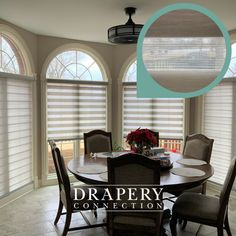 We finished this beautiful dining area with one of our favorite modern products - Mezzanine layered shades! See the sheer fabric between the opaque vanes? Alternating and overlapping sheer and opaque fabrics not only give you unparalleled light control, but even UV protection. Not to mention, they're just beautiful. This Glorieta line from Graber in Cityscape has a beautiful shining texture we can't get enough of! Modern Window Treatments, Home Cooler, Custom Blinds, Shades Blinds, Blinds For Windows, Sheer Fabrics, Drapery, Dining Area, Texture