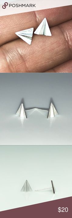 925 Paper Airplane Brushed Silver Earrings. 925 Paper Airplane Brushed Silver Earrings. 8mm's I think these are pretty cool. The inner younger person  In me would wear these and walk Around like I was the s/*t. Jewelry Earrings